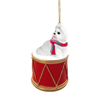 Shih Tzu White Drum Ornament