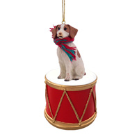 Brittany Brown & White Spaniel Drum Ornament
