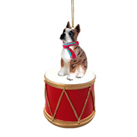 Boxer Brindle Drum Ornament