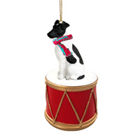 Fox Terrier Black & White Drum Ornament