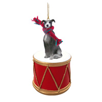 Greyhound Blue Drum Ornament