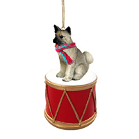 Akita Gray Drum Ornament