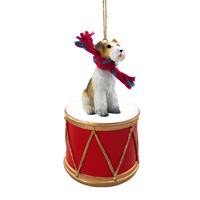 Wire Fox Terrier Red Drum Ornament