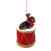 Dachshund Longhaired Black Drum Ornament