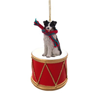Border Collie Drum Ornament