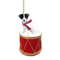 Jack Russell Terrier Black & White w/Rough Coat Drum Ornament