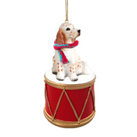 English Setter Belton Orange Drum Ornament