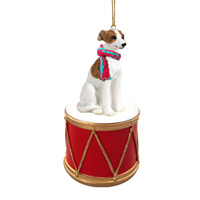 Whippet Brindle & White Drum Ornament