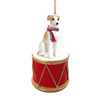 Whippet Tan & White Drum Ornament