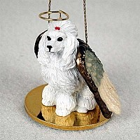 Poodle White Pet Angel Ornament