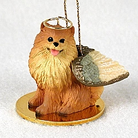 Pomeranian Red Pet Angel Ornament