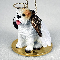 Bulldog White Pet Angel Ornament