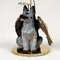 German Shepherd Black & Silver Pet Angel Ornament