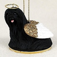 Lhasa Apso Black Pet Angel Ornament