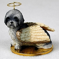 Lhasa Apso Gray w/Sport Cut Pet Angel Ornament