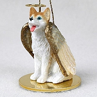 Husky Red & White w/Blue Eyes Pet Angel Ornament