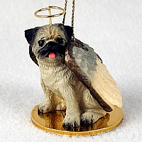 Pug Fawn Pet Angel Ornament
