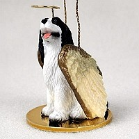 Springer Spaniel Black & White Pet Angel Ornament