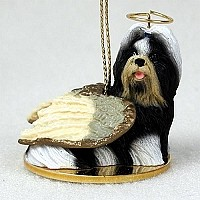 Shih Tzu Black & White Pet Angel Ornament