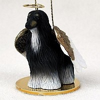 Afghan Black & White Pet Angel Ornament Ornament
