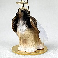 Afghan Tan & White Pet Angel Ornament Ornament