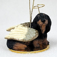 Dachshund Longhaired Black Pet Angel Ornament