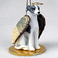 Whippet Gray & White Pet Angel Ornament