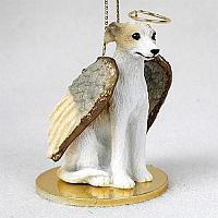 Whippet Tan & White Pet Angel Ornament