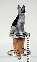 German Shepherd Black & Silver Bottle Stopper