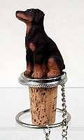Doberman Pinscher Red w/Uncropped Ears Bottle Stopper