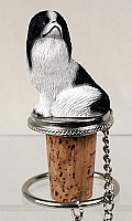 Japanese Chin Black & White Bottle Stopper