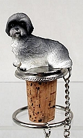 Lhasa Apso Gray w/Sport Cut Bottle Stopper