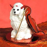 Poodle White Devilish Pet Figurine