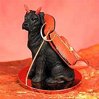 Great Dane Black w/Uncropped Ears Devilish Pet Figurine