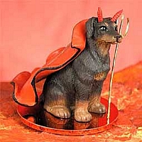 Doberman Pinscher Red w/Uncropped Ears Devilish Pet Figurine