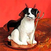 Jack Russell Terrier Black & White w/Smooth Coat Devilish Pet Figurine