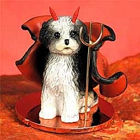Shih Tzu Black & White w/Sport Cut Devilish Pet Figurine