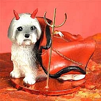 Lhasa Apso Gray w/Sport Cut Devilish Pet Figurine