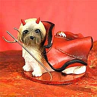 Lhasa Apso Brown w/Sport Cut Devilish Pet Figurine