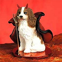 Cavalier King Charles Spaniel Brown & White Devilish Pet Figurine