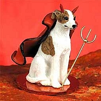 Whippet Brindle & White Devilish Pet Figurine
