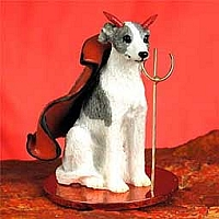 Whippet Gray & White Devilish Pet Figurine