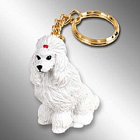 Poodle White Key Chain