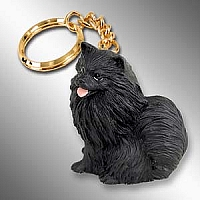 Pomeranian Black Key Chain