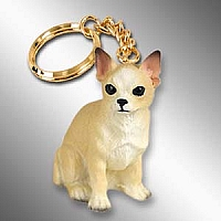 Chihuahua Tan & White Key Chain