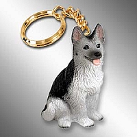 German Shepherd Black & Silver Key Chain