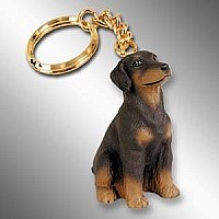 Doberman Pinscher Red w/Uncropped Ears Key Chain