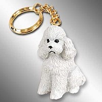 Poodle White w/Sport Cut Key Chain