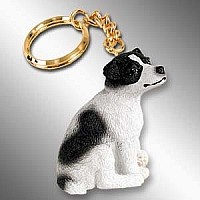 Jack Russell Terrier Black & White w/Smooth Coat Key Chain
