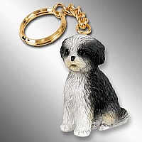 Shih Tzu Black & White w/Sport Cut Key Chain